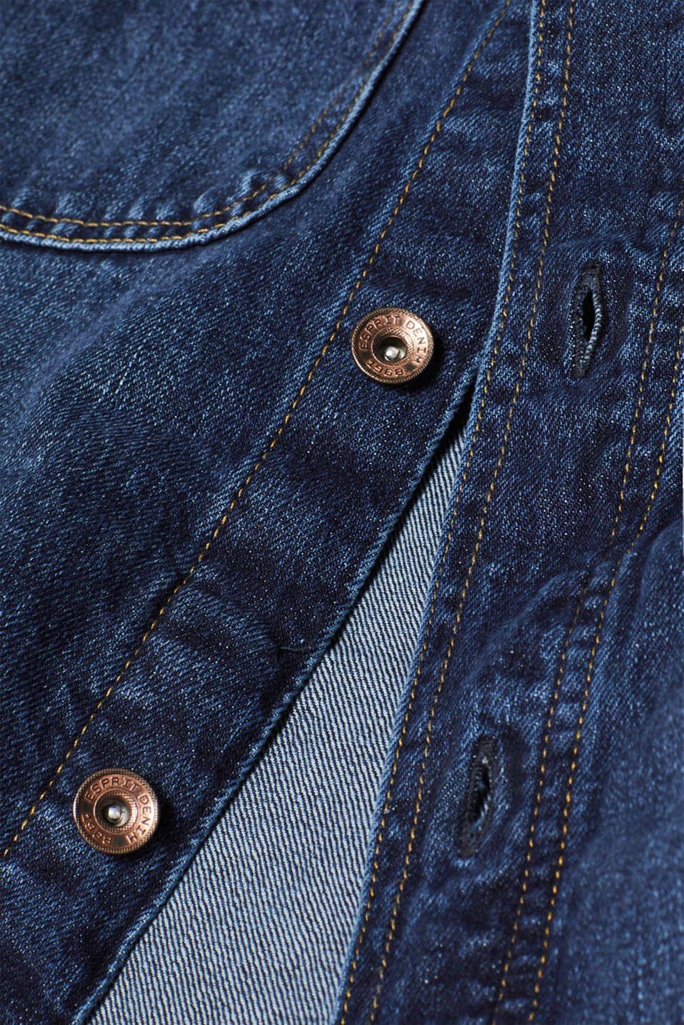Denim jacket in 100% cotton, BLUE DARK WASH, detail image number 5