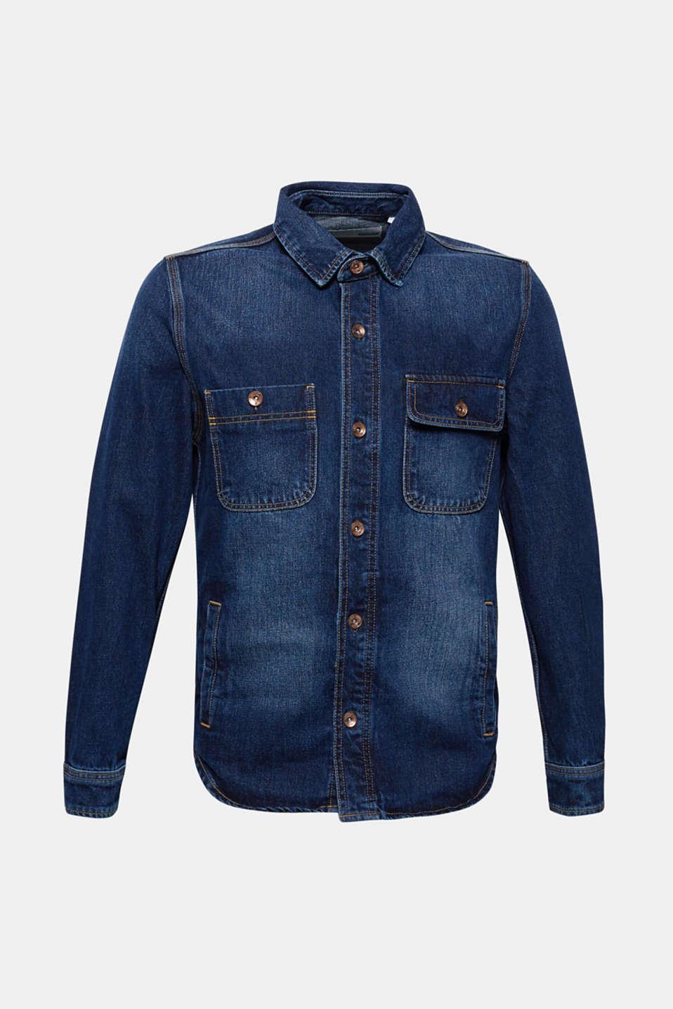 Denim jacket in 100% cotton, BLUE DARK WASH, detail image number 6