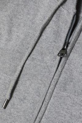 With cashmere: fine knit hoodie, GREY, detail