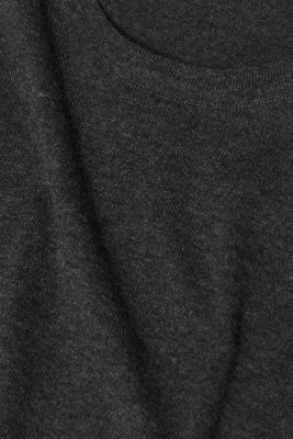 Silk blend fine knit jumper, ANTHRACITE, detail