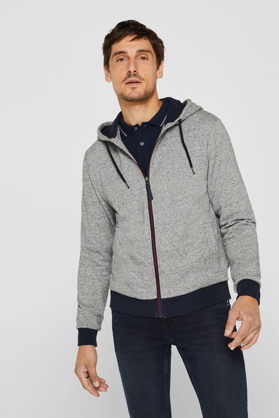 Cotton blend hoodie, MEDIUM GREY, detail image number 0