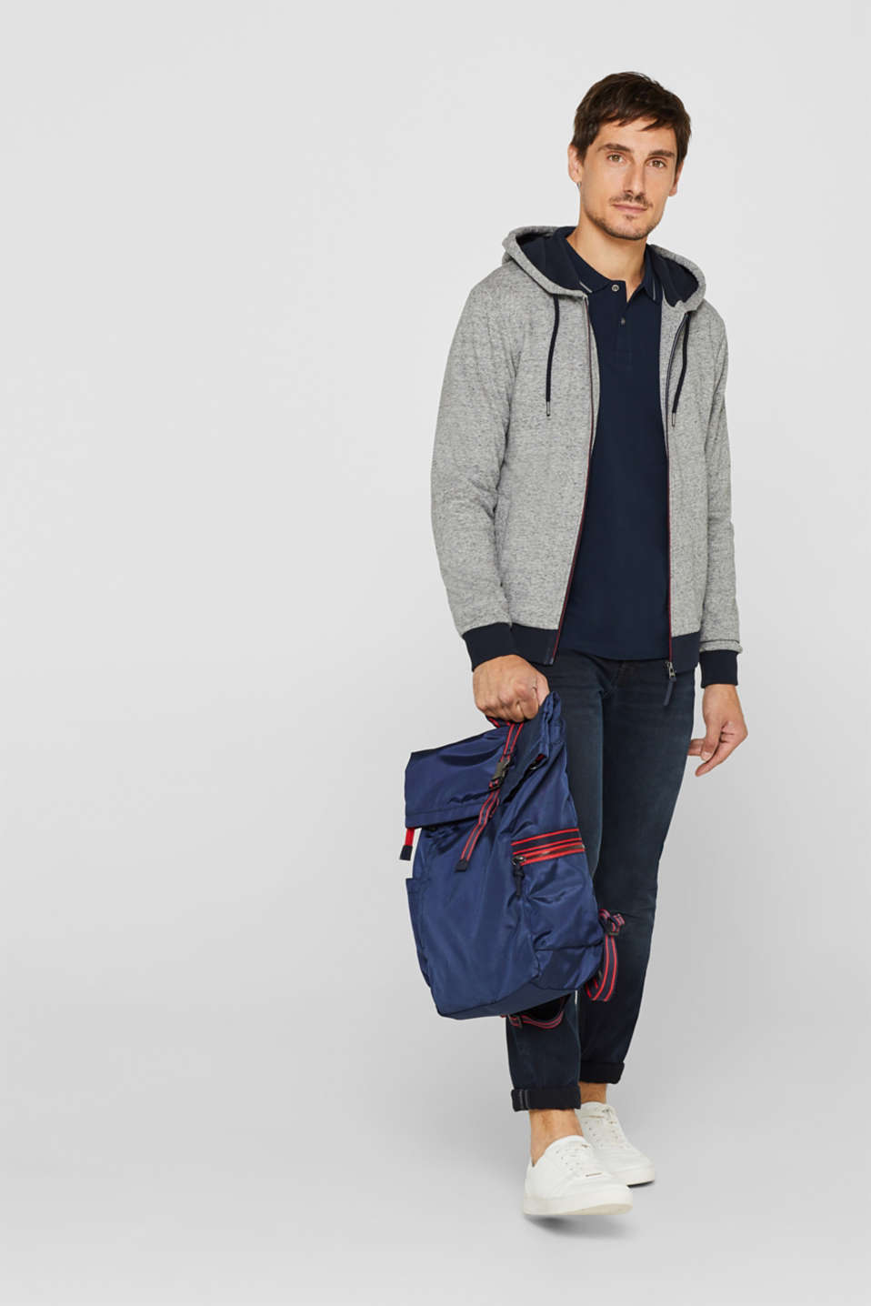 Cotton blend hoodie, MEDIUM GREY, detail image number 1