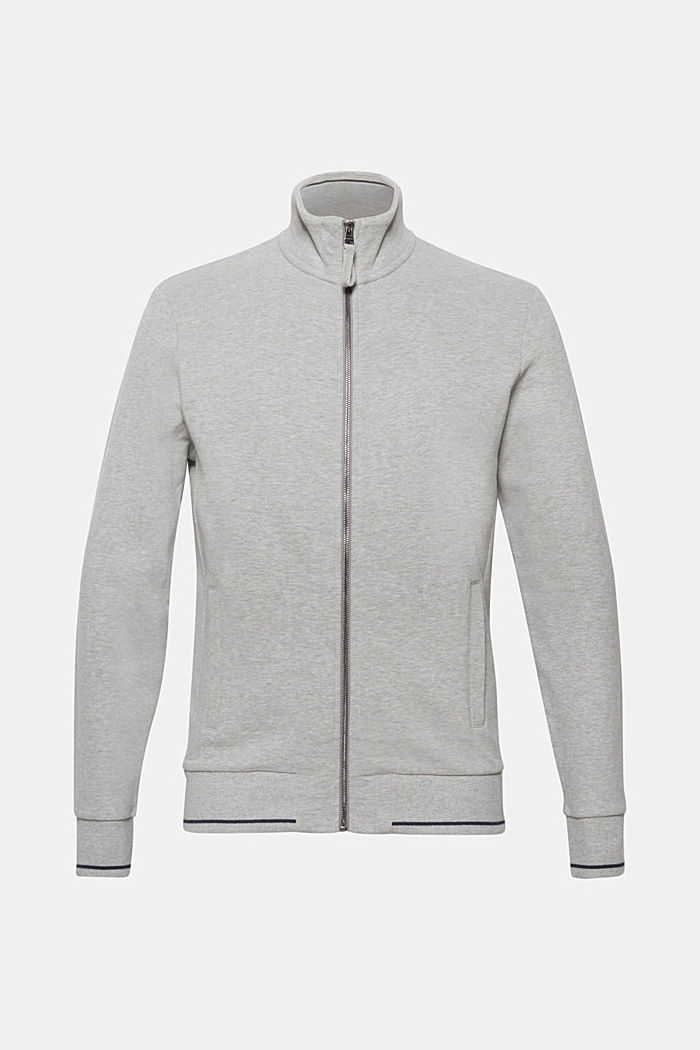Sweat-Cardigan aus meliertem Baumwoll-Mix