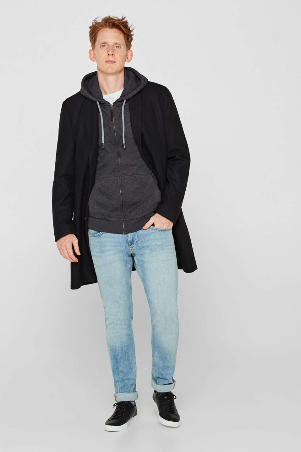 Hooded sweatshirt cardigan, ANTHRACITE, detail image number 1
