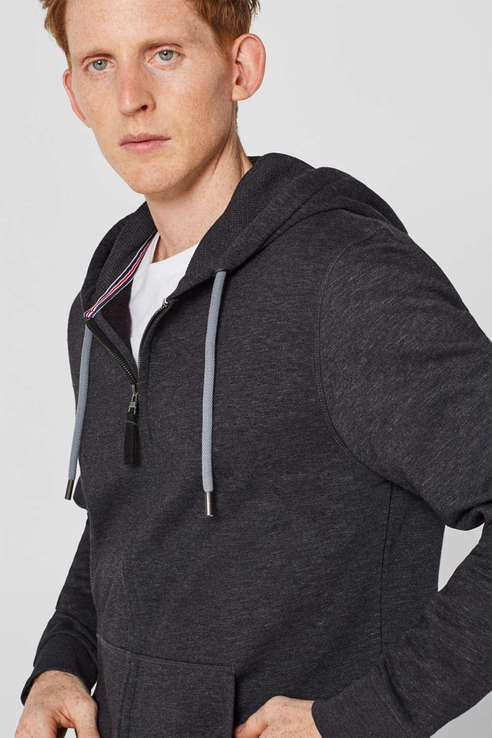 Hooded sweatshirt cardigan, ANTHRACITE, detail image number 2