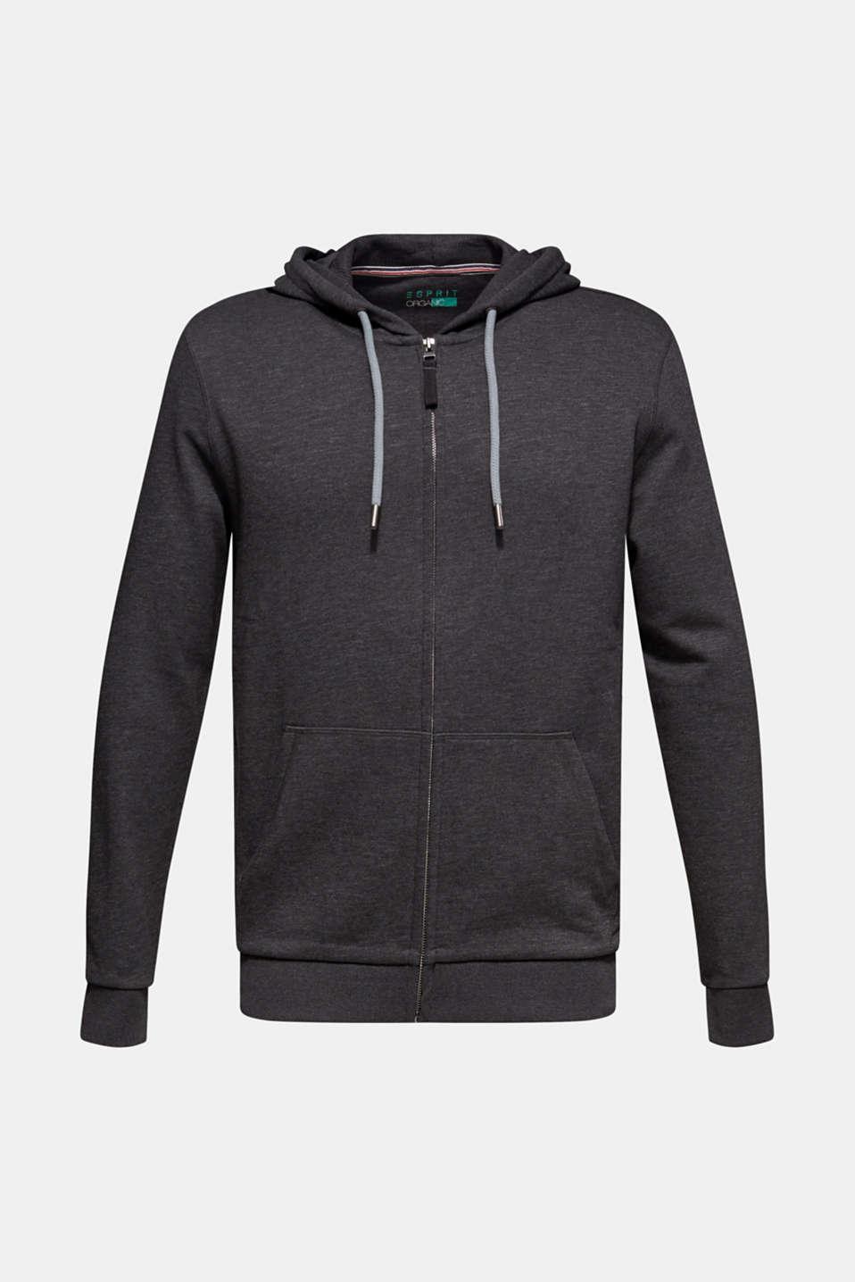 Hooded sweatshirt cardigan, ANTHRACITE, detail image number 6