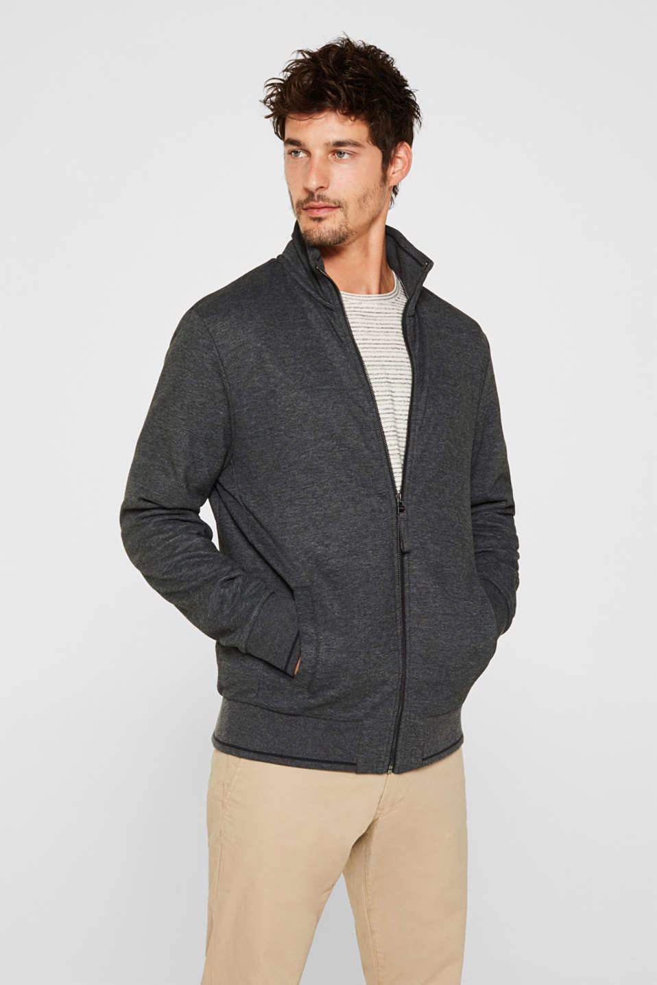 Cotton blend sweatshirt cardigan, ANTHRACITE, detail image number 0