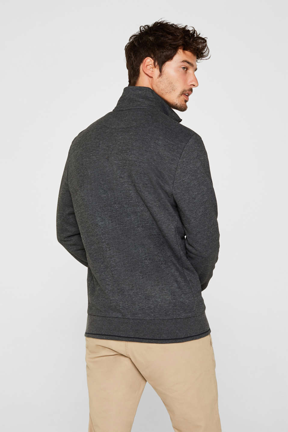 Cotton blend sweatshirt cardigan, ANTHRACITE, detail image number 3