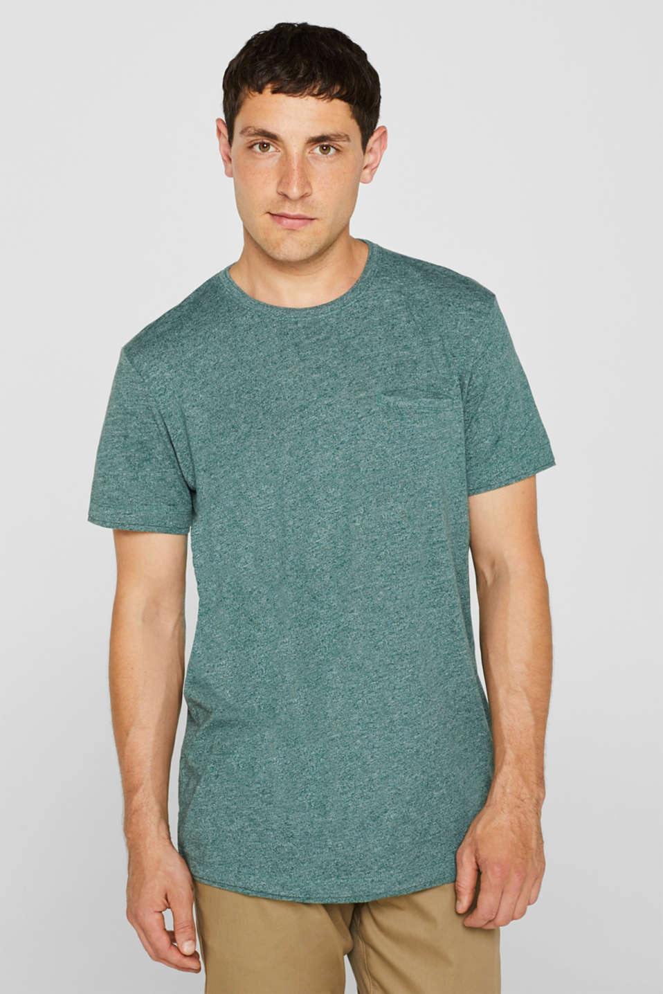Jersey T-shirt in blended cotton, DUSTY GREEN, detail image number 0