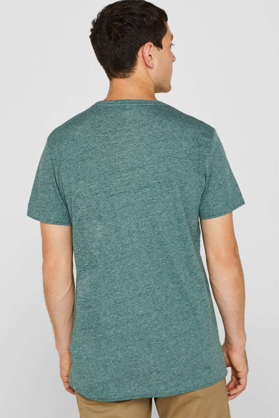 Jersey T-shirt in blended cotton, DUSTY GREEN, detail image number 3