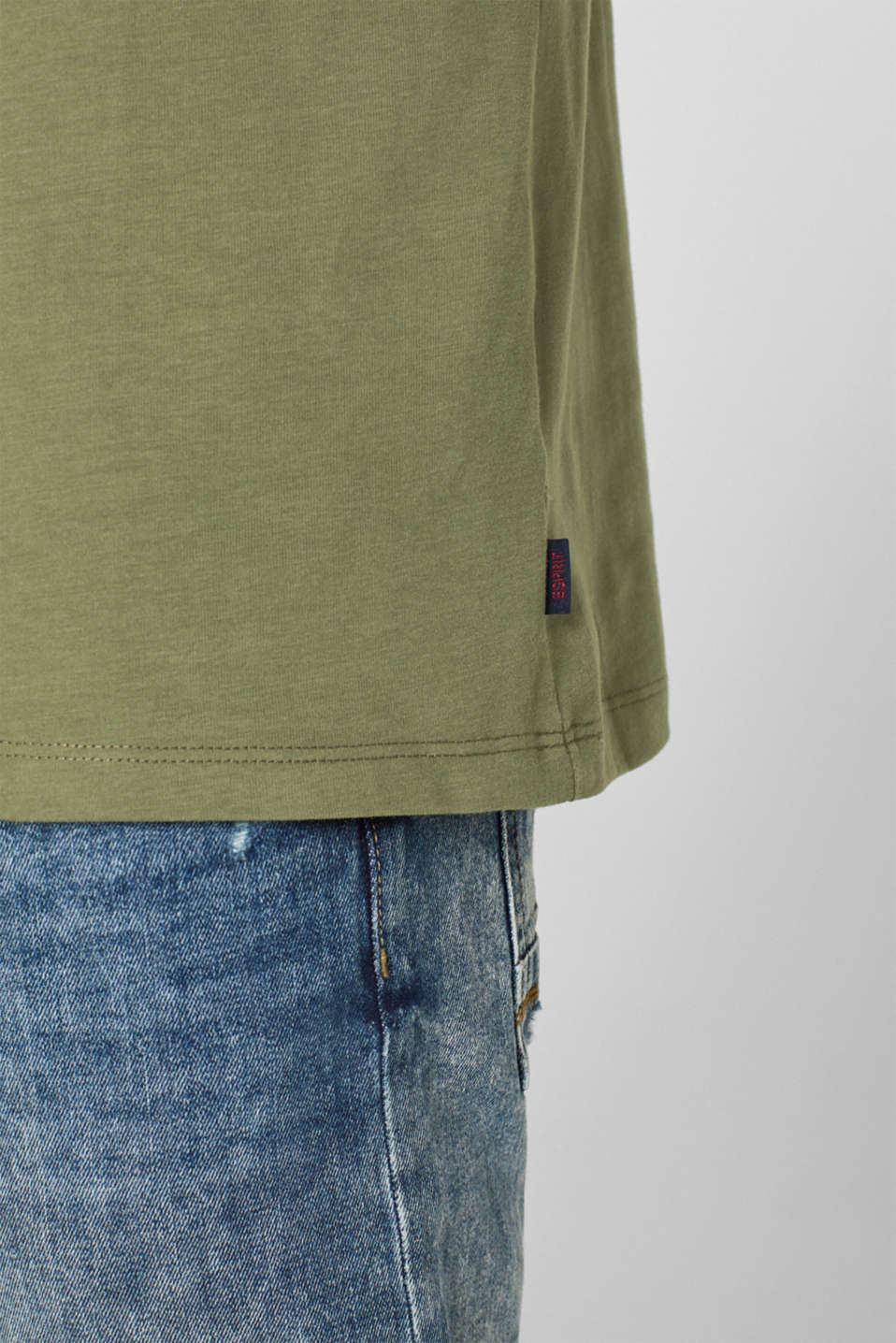 Long sleeve jersey top in 100% cotton, KHAKI GREEN, detail image number 1