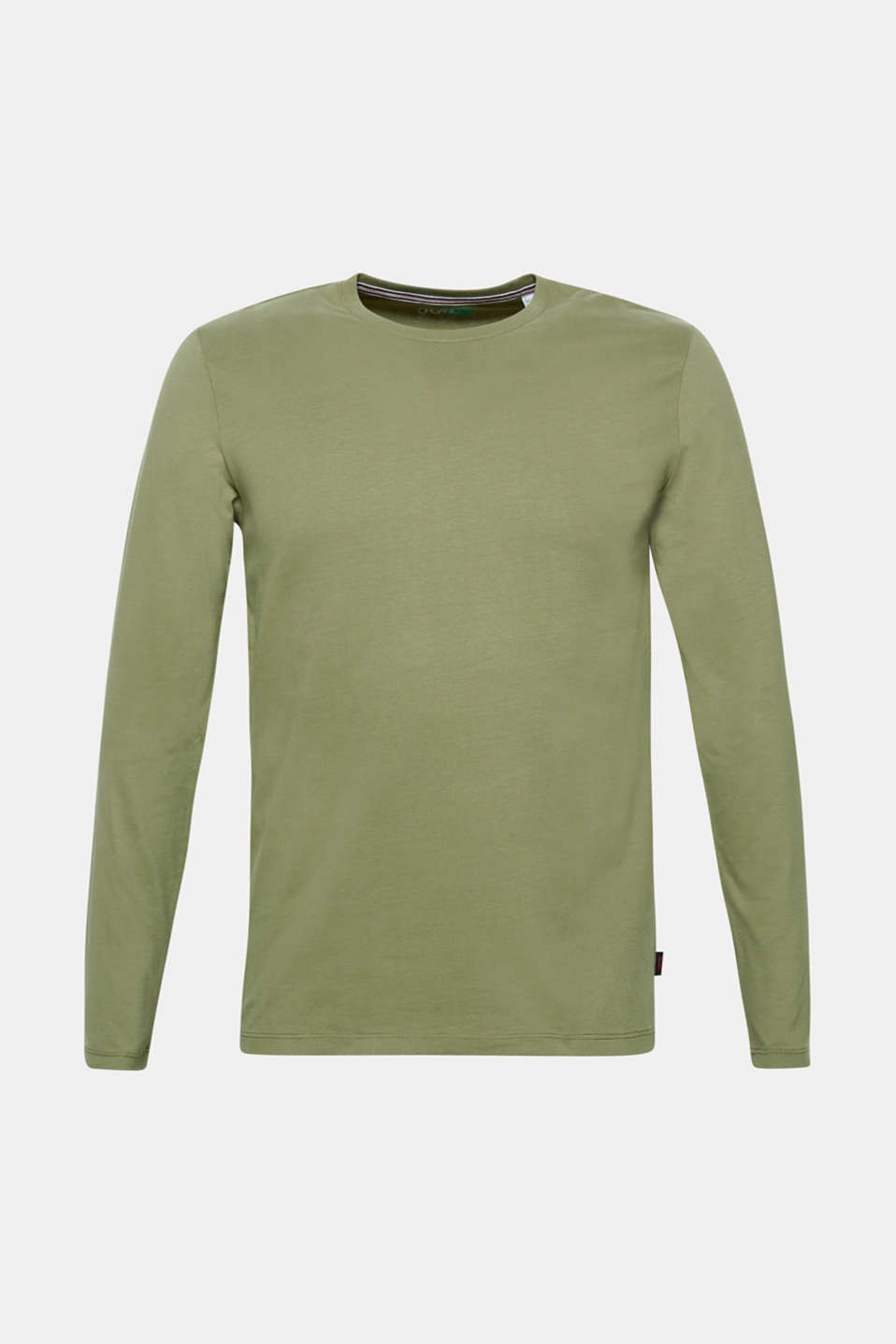 Long sleeve jersey top in 100% cotton, KHAKI GREEN, detail image number 7