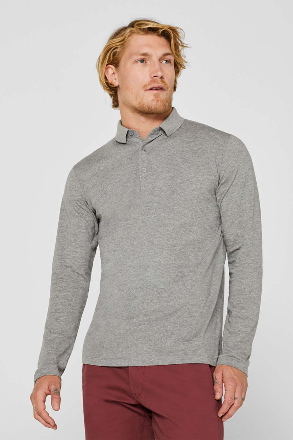 Esprit - Polo neck long sleeve top in melange jersey
