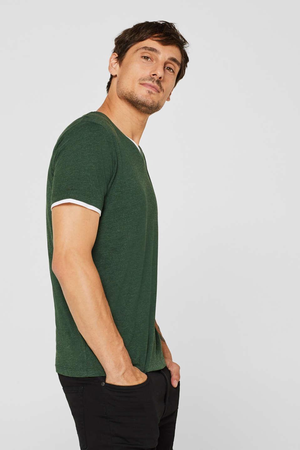 Layered jersey T-shirt, KHAKI GREEN, detail image number 4