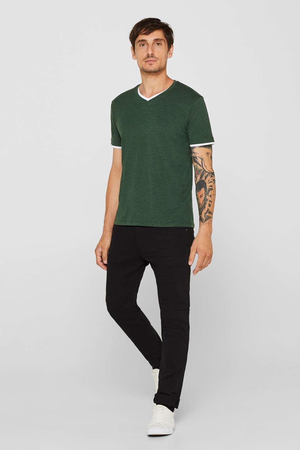 Layered jersey T-shirt, KHAKI GREEN, detail image number 2