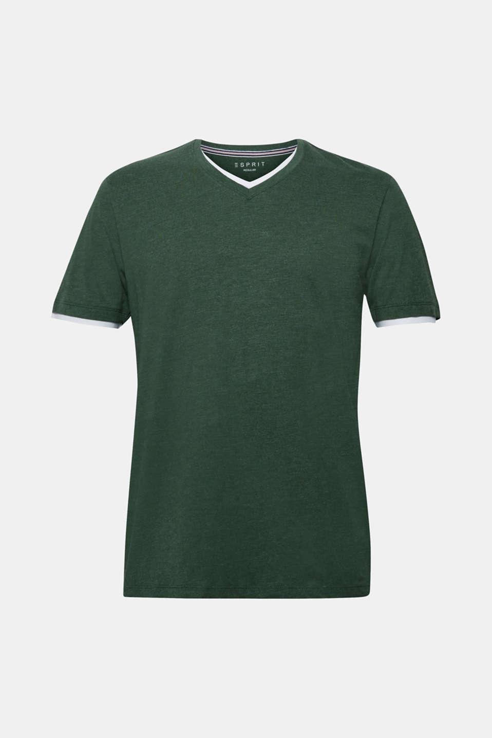 Layered jersey T-shirt, KHAKI GREEN, detail image number 7