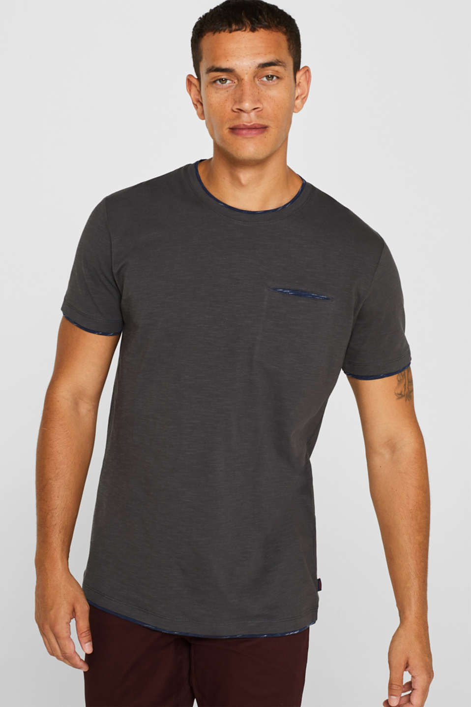 Esprit - Jersey T-shirt in a layered look, 100% cotton