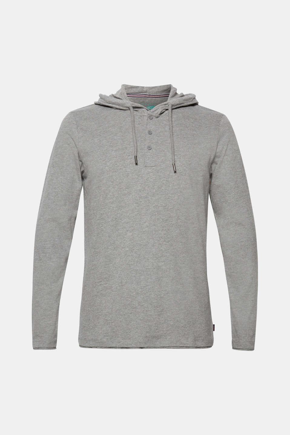 Long sleeve jersey hoodie, MEDIUM GREY, detail image number 5