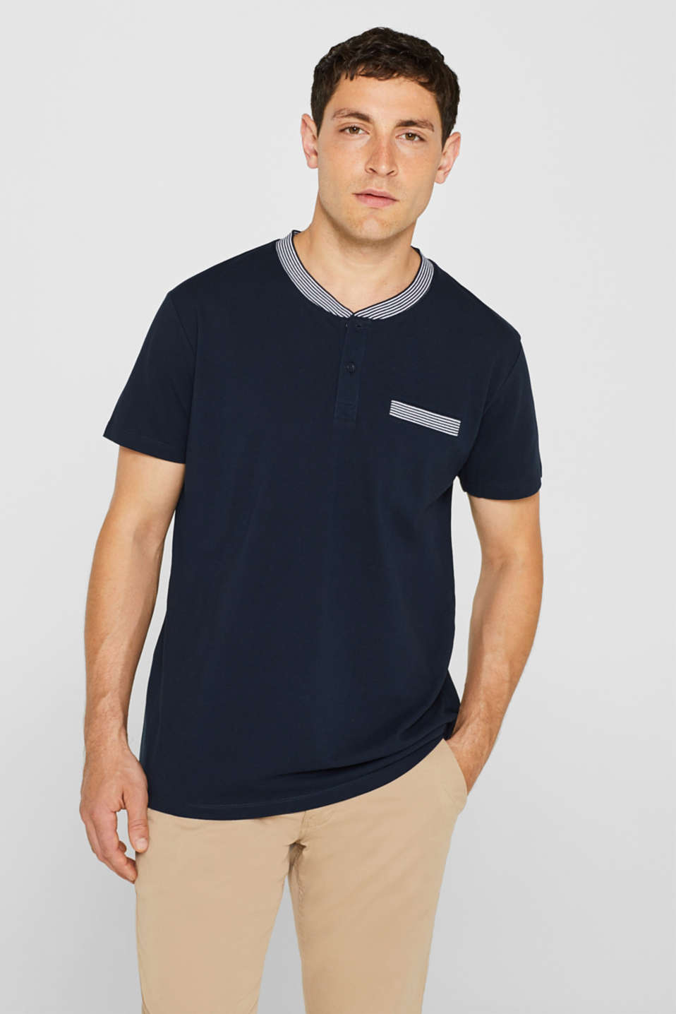 Piqué polo shirt in 100% cotton, NAVY, detail image number 0