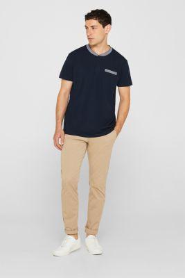 Piqué polo shirt in 100% cotton, NAVY, detail