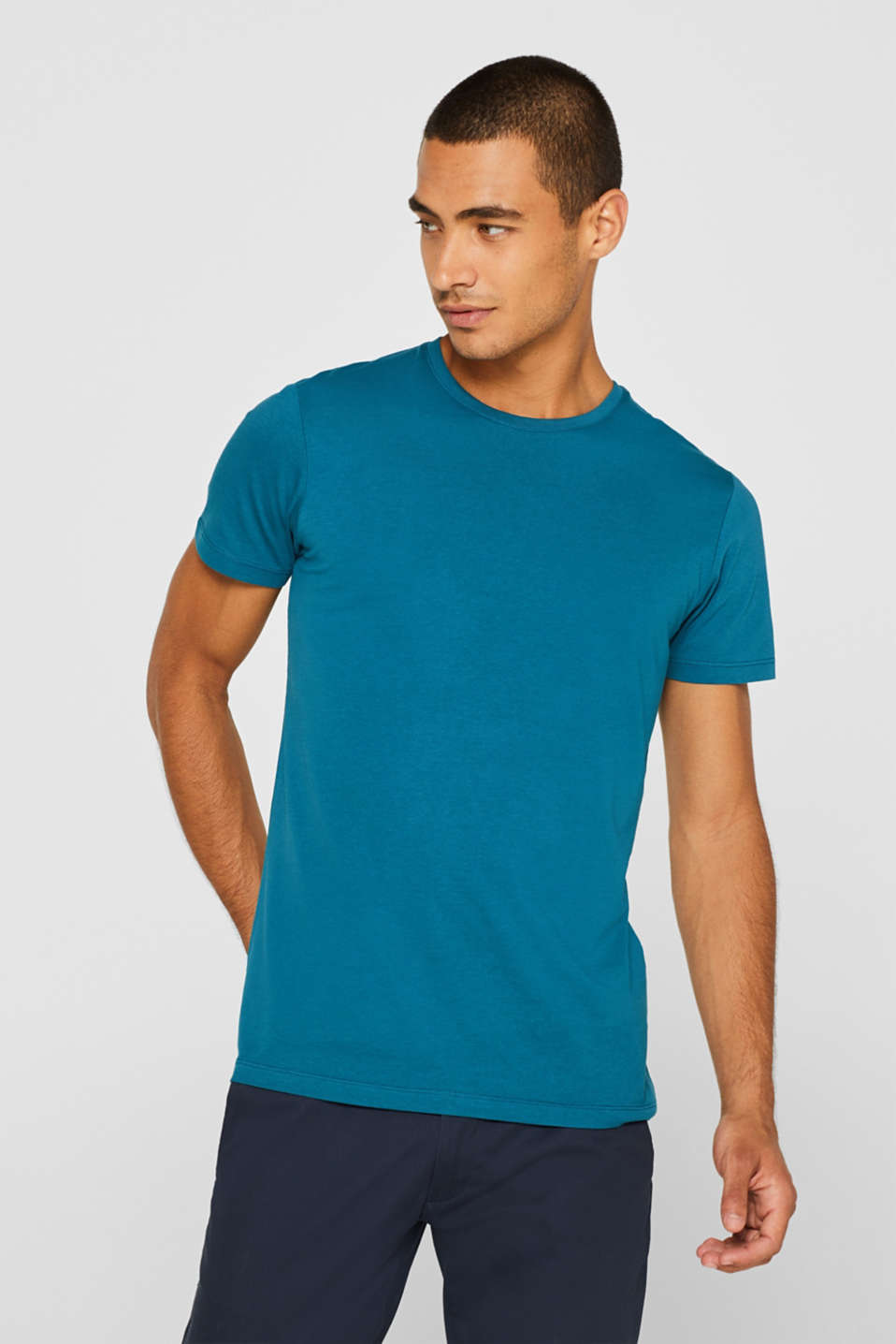 Jersey T-shirt in 100% cotton, PETROL BLUE 2, detail image number 0