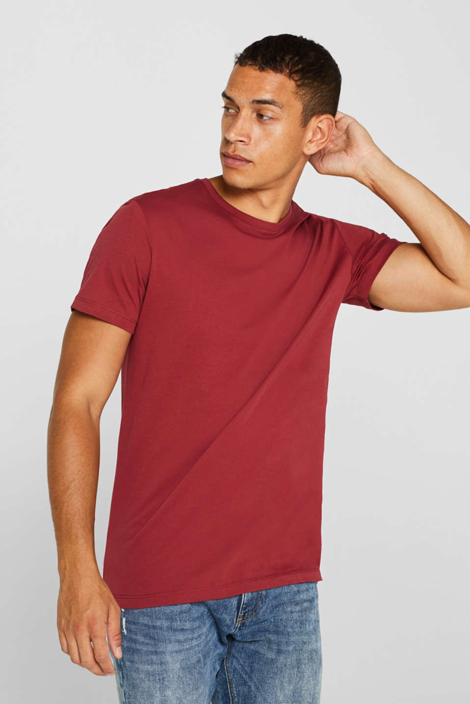 Jersey T-shirt in 100% cotton, BORDEAUX RED 2, detail image number 0