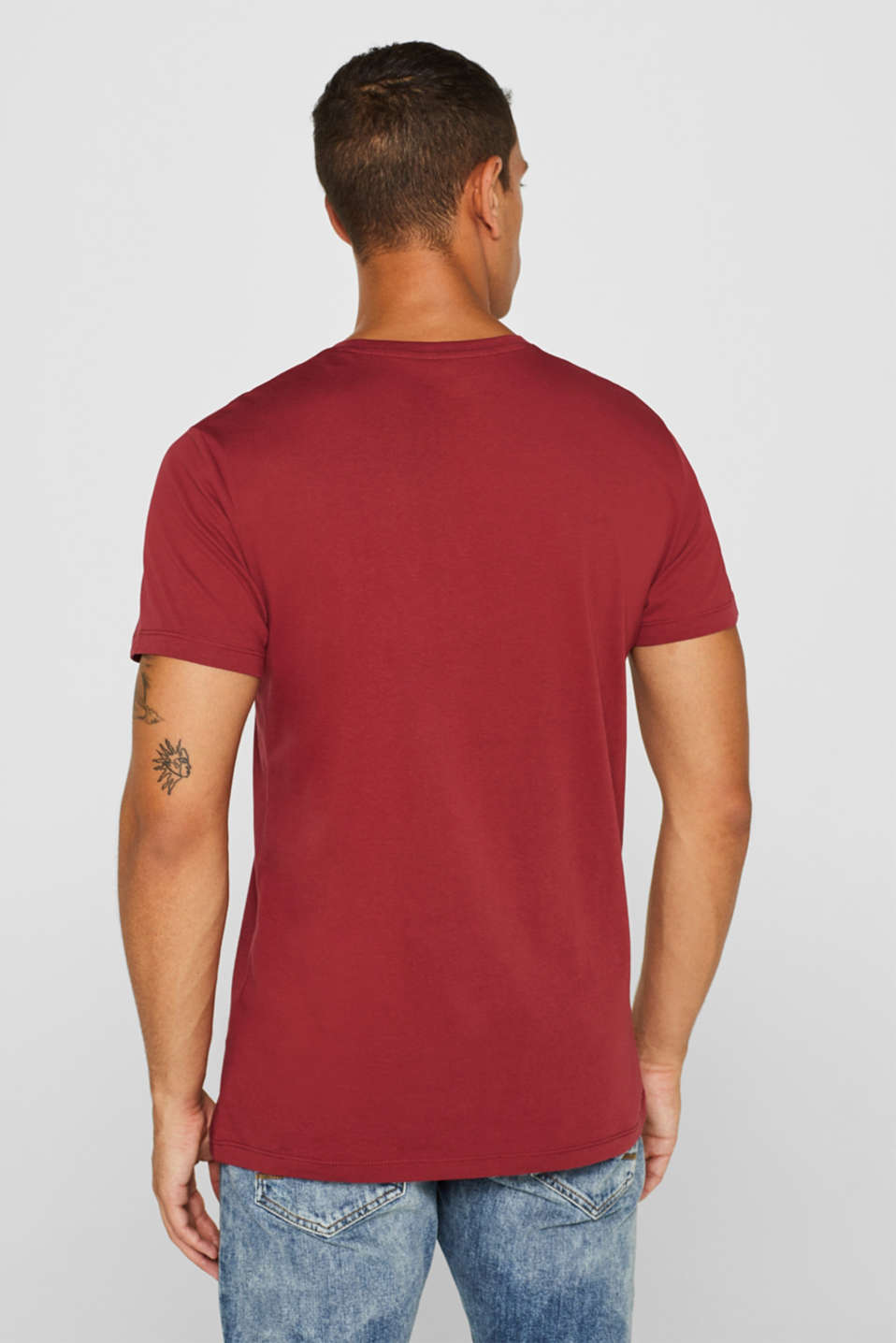 Jersey T-shirt in 100% cotton, BORDEAUX RED 2, detail image number 3