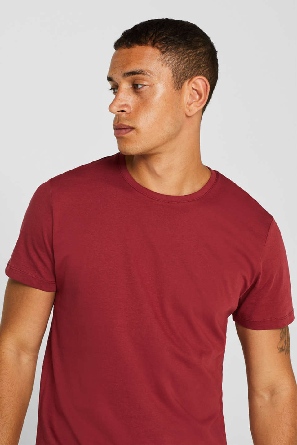 Jersey T-shirt in 100% cotton, BORDEAUX RED 2, detail image number 1