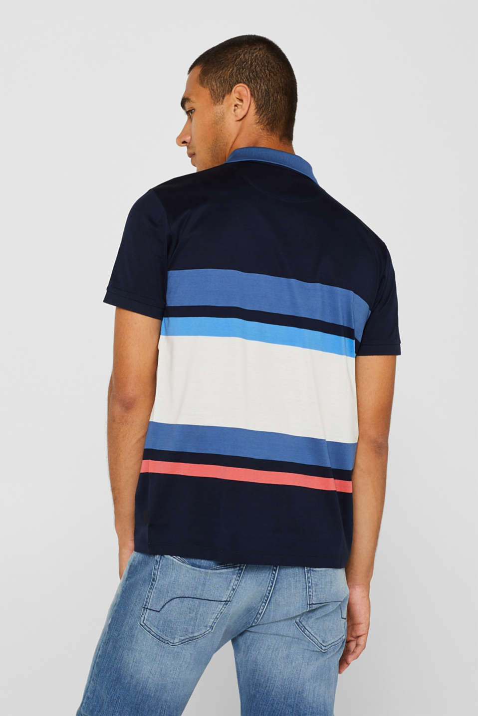 Jersey polo shirt in 100% cotton, NAVY, detail image number 3