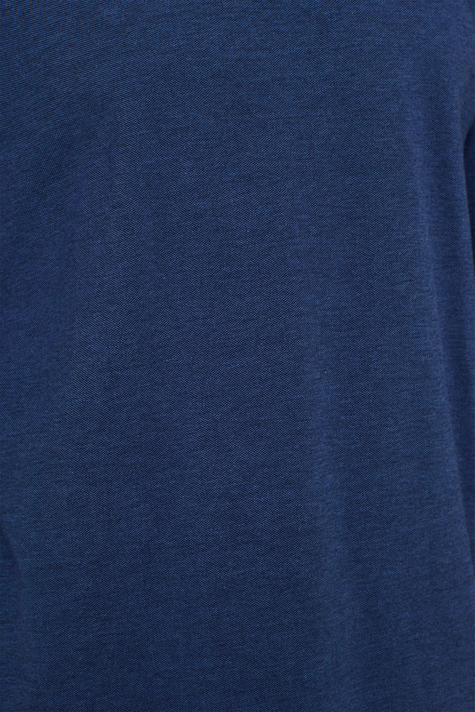 Piqué long sleeve T-shirt made of 100% cotton, NAVY, detail image number 4