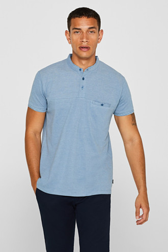 Piqué polo shirt with a stand-up collar, 100% cotton