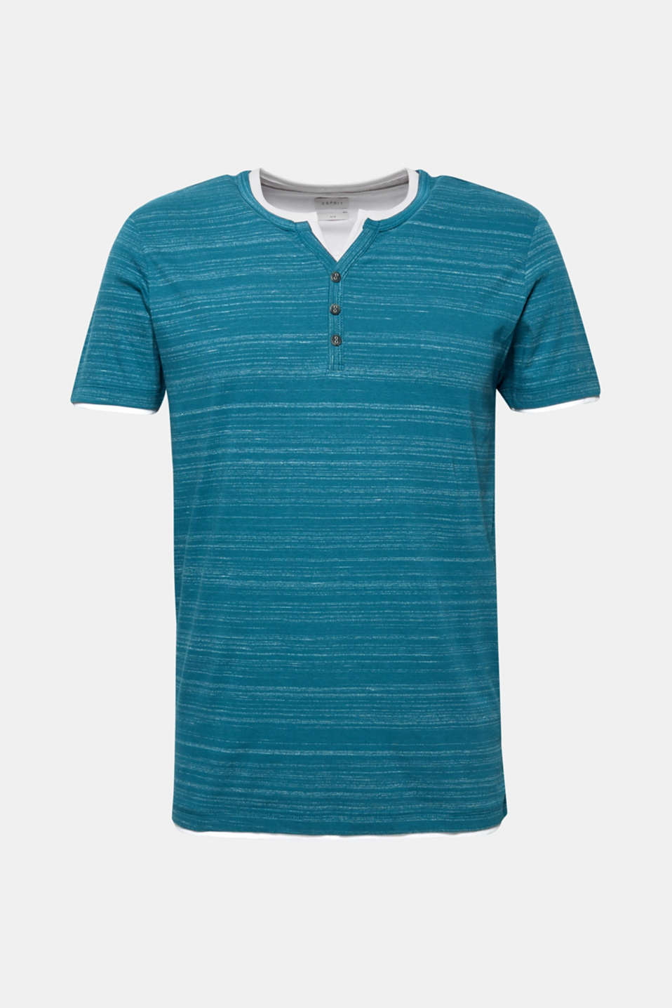T-shirt with a layered look, made of jersey, PETROL BLUE, detail image number 5