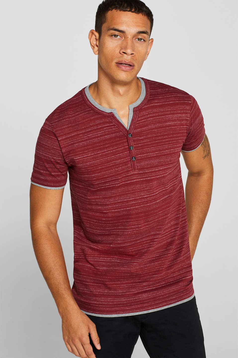 T-shirt with a layered look, made of jersey, BORDEAUX RED, detail image number 0