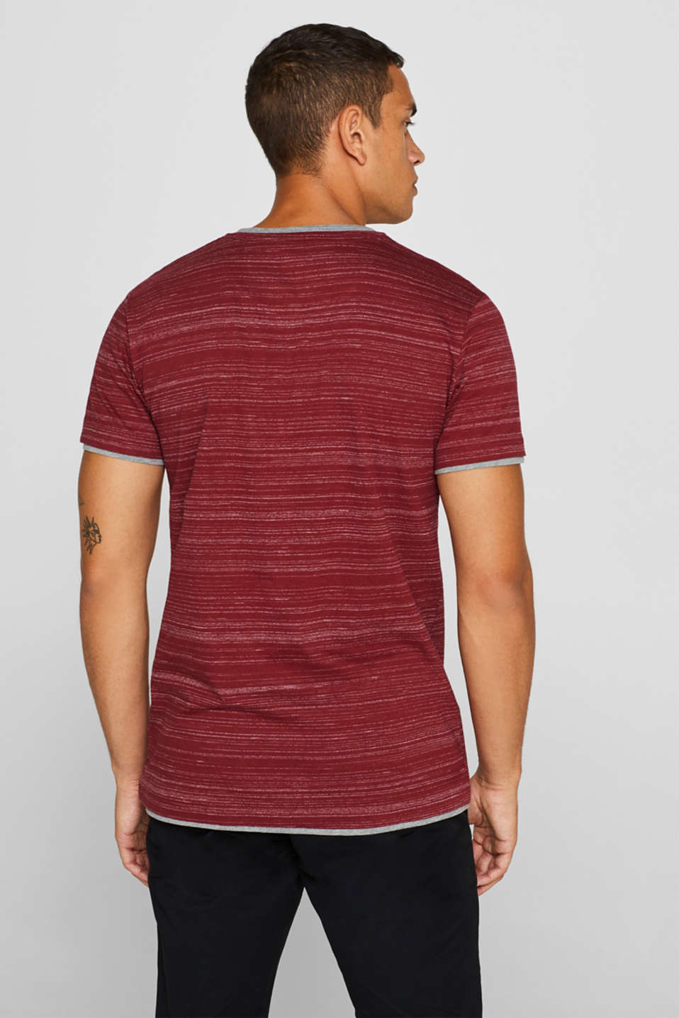 T-shirt with a layered look, made of jersey, BORDEAUX RED, detail image number 3