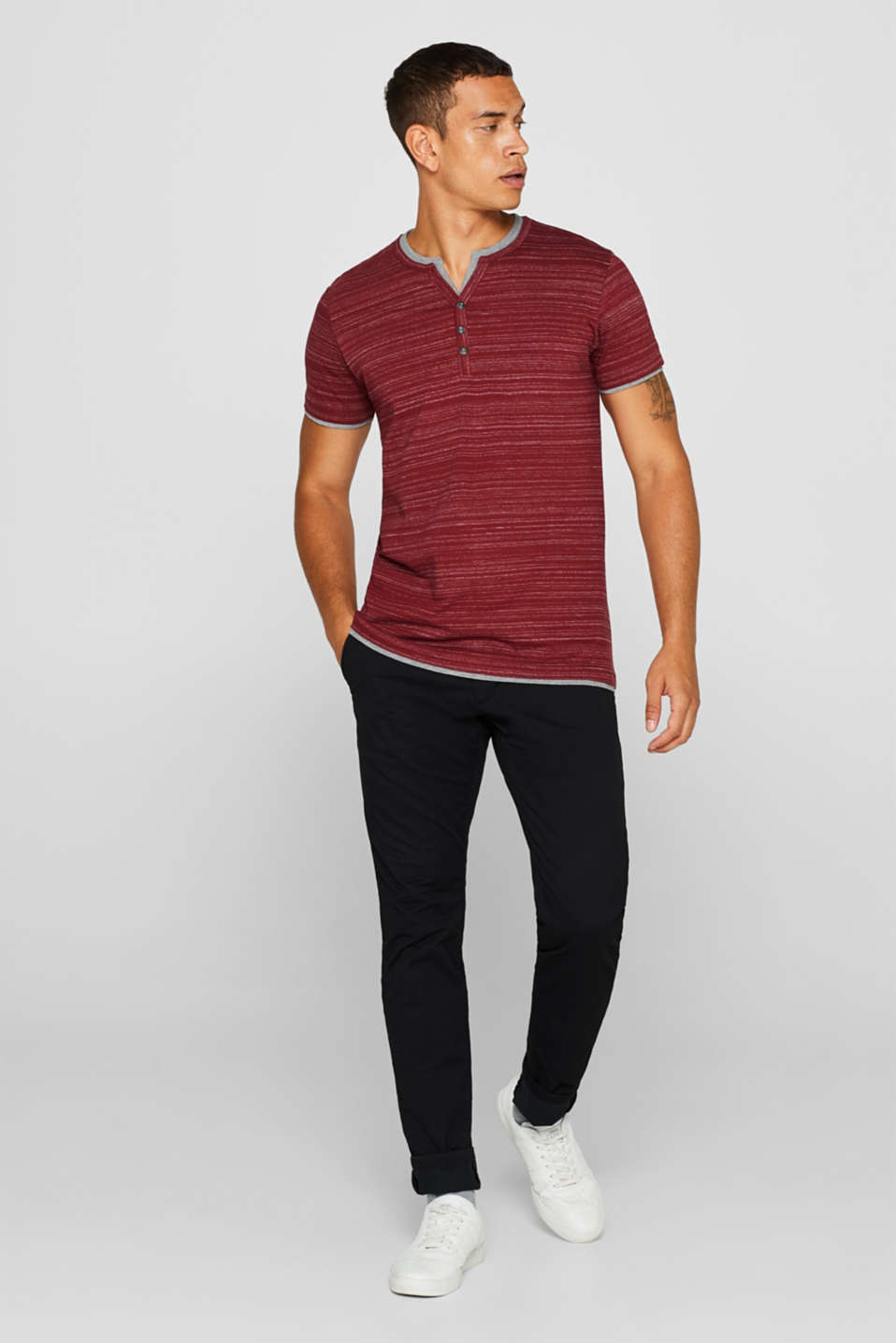 T-shirt with a layered look, made of jersey, BORDEAUX RED, detail image number 2