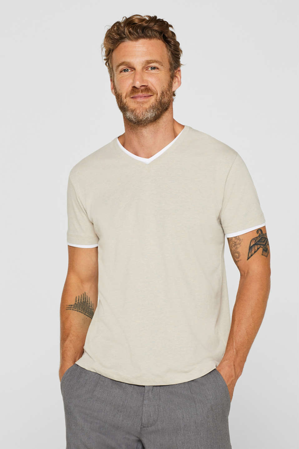 Esprit - Layered-effect jersey T-shirt