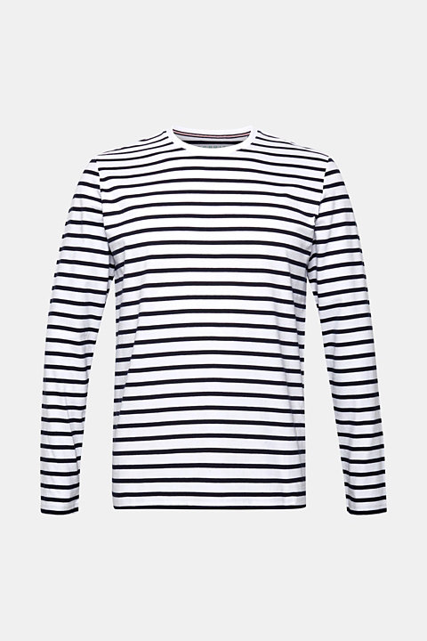 Jersey long sleeve top with stripes, 100% cotton
