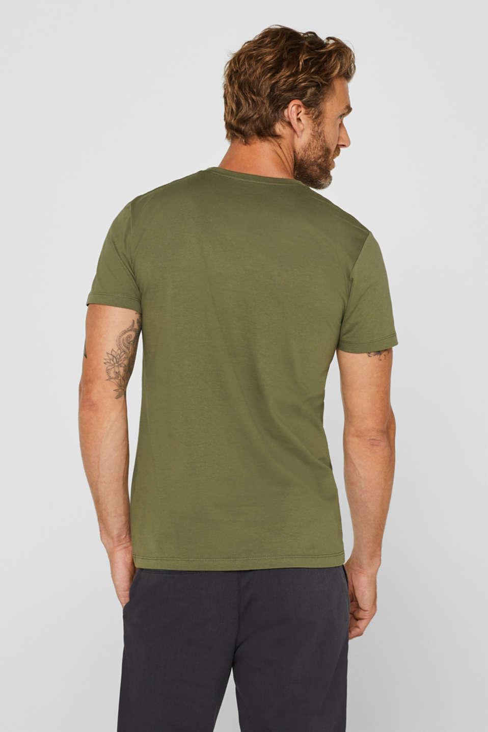Jersey T-shirt with logo print, 100% cotton, KHAKI GREEN, detail image number 3