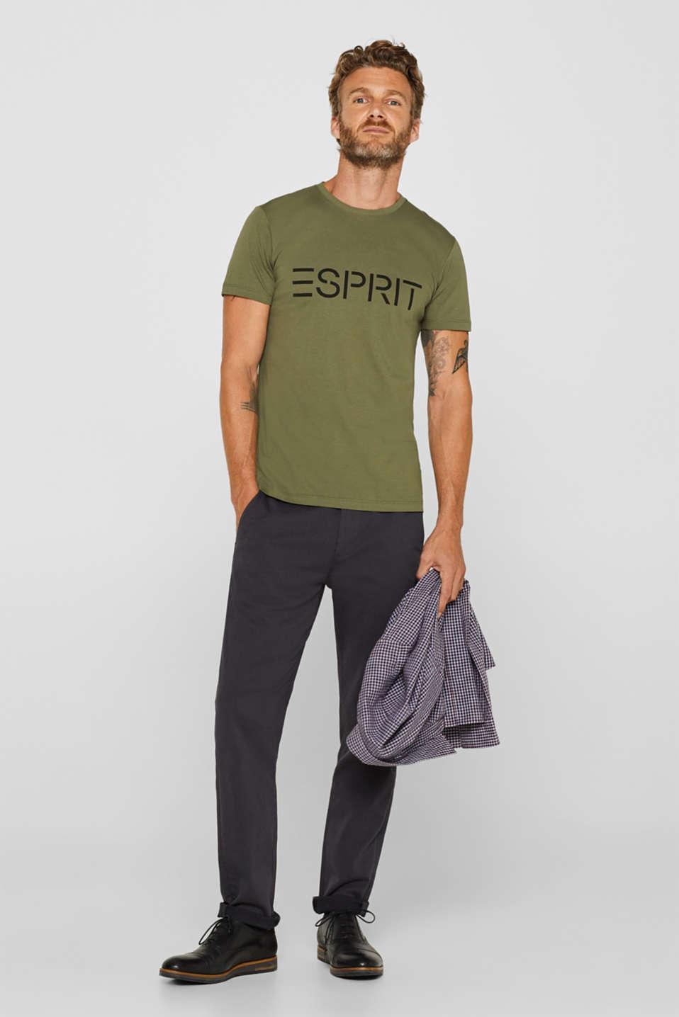 Jersey T-shirt with logo print, 100% cotton, KHAKI GREEN, detail image number 2