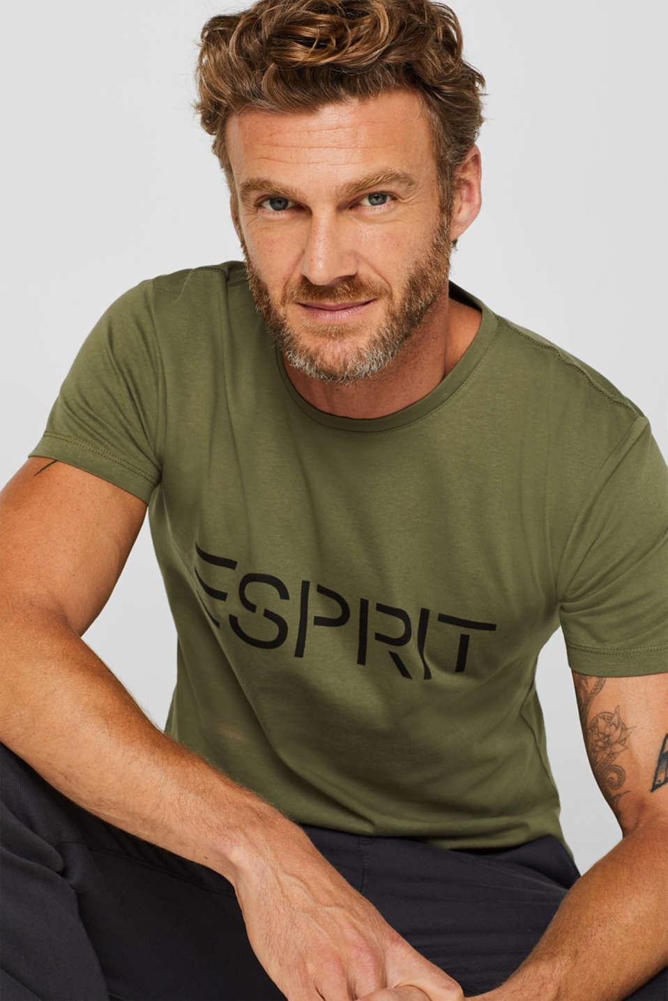 Jersey T-shirt with logo print, 100% cotton, KHAKI GREEN, detail image number 5