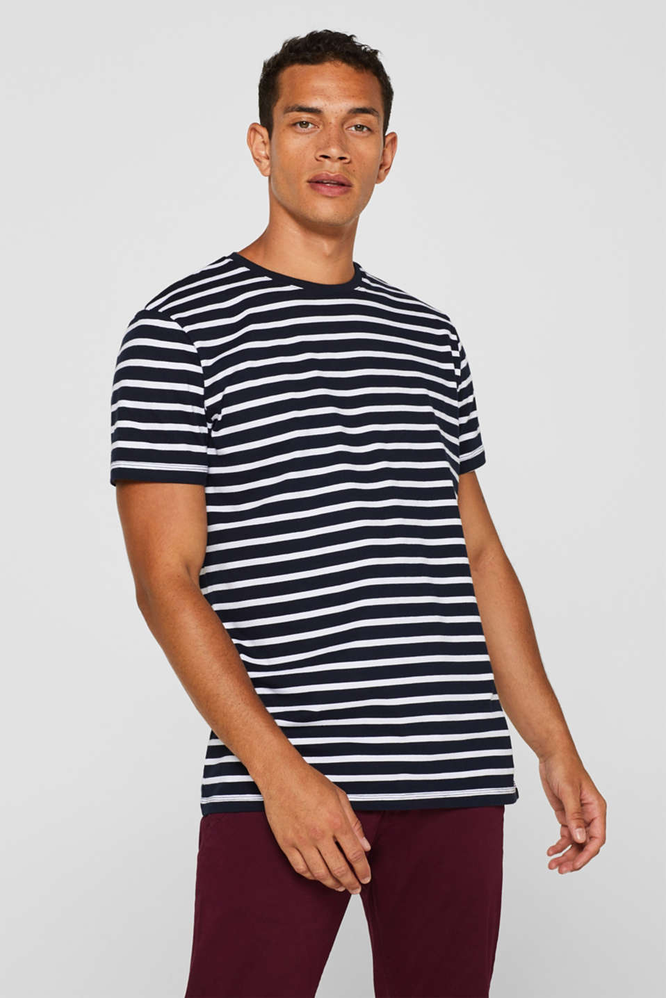 Jersey T-shirt with stripes, 100% cotton, NAVY 2, detail image number 0
