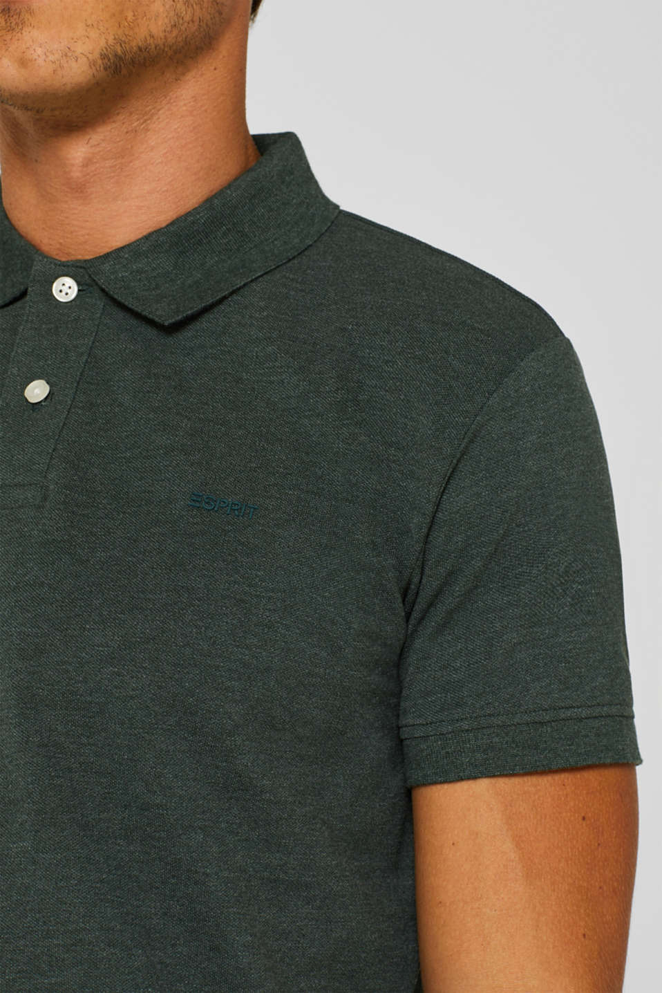 Piqué polo shirt in blended cotton, DARK GREEN, detail image number 1