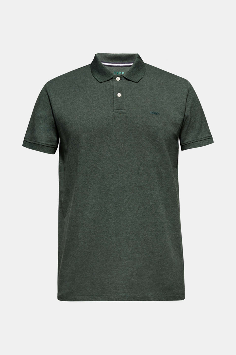 Piqué polo shirt in blended cotton, DARK GREEN, detail image number 5