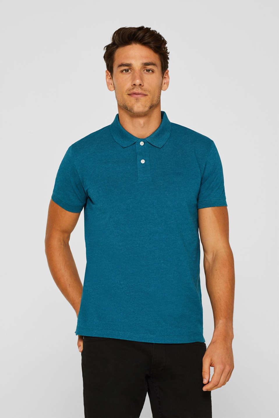 Piqué polo shirt in blended cotton, TEAL BLUE, detail image number 0