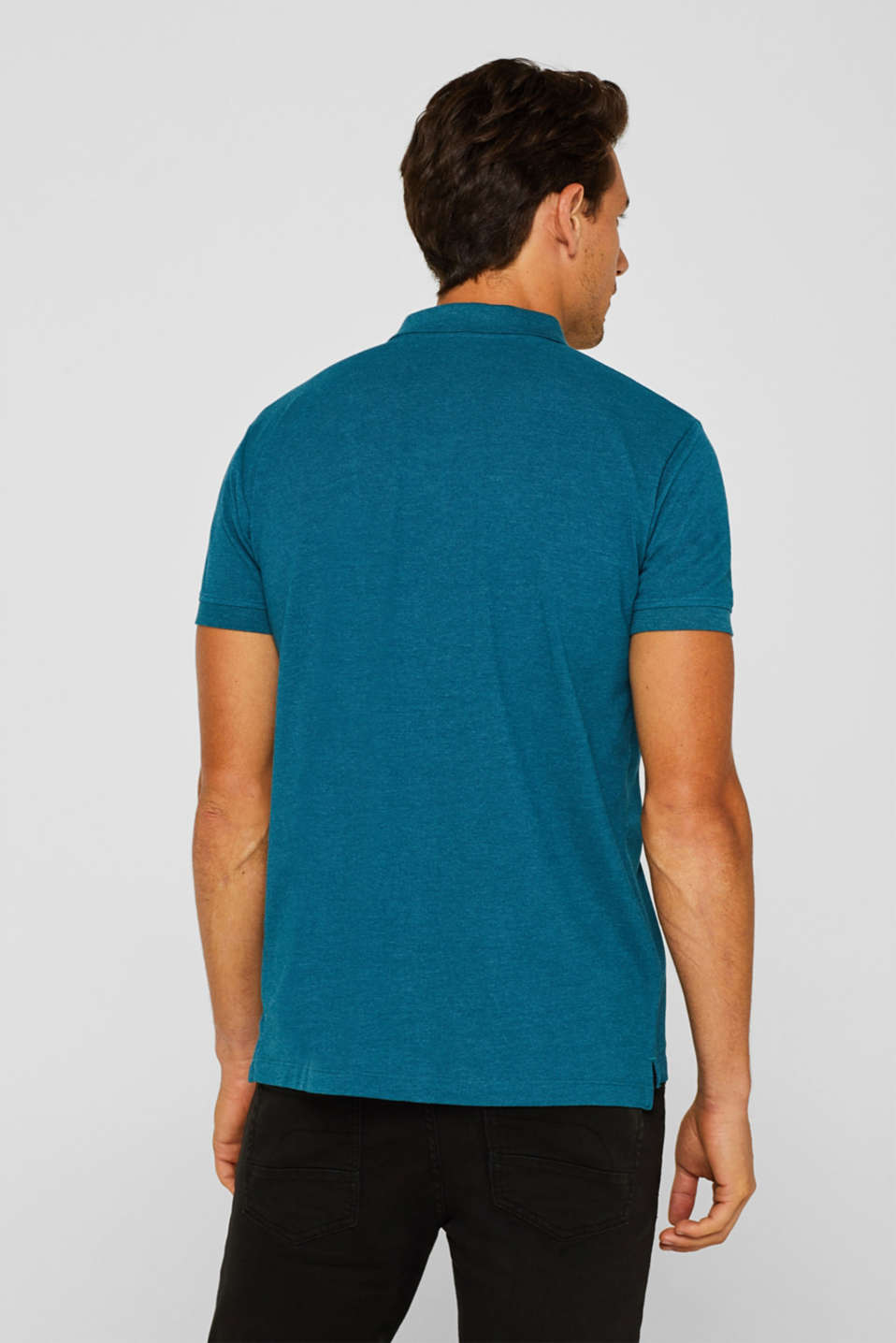 Piqué polo shirt in blended cotton, TEAL BLUE, detail image number 3