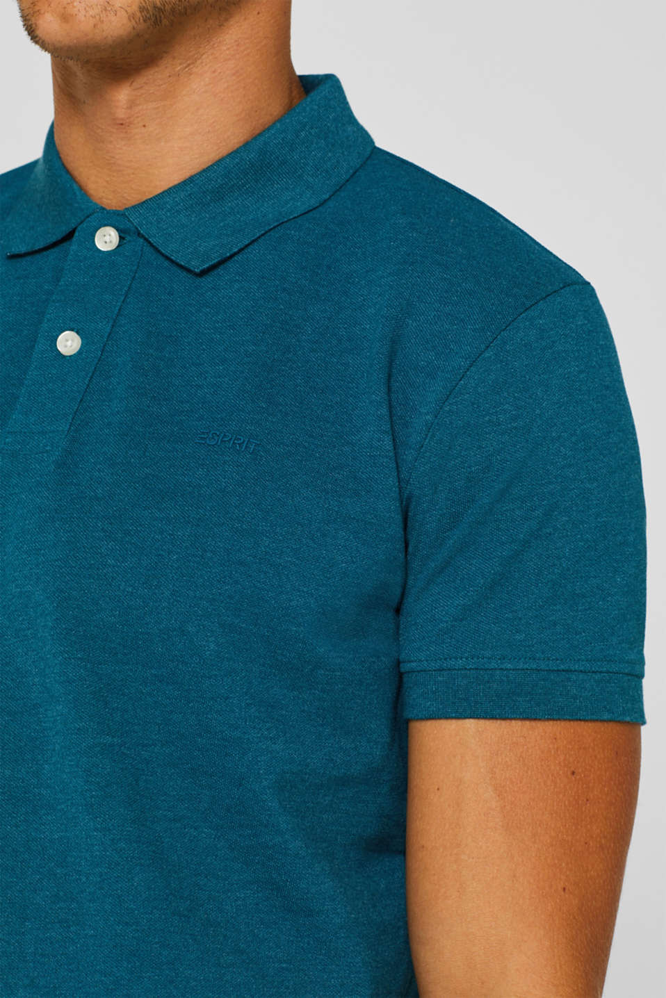 Piqué polo shirt in blended cotton, TEAL BLUE, detail image number 1