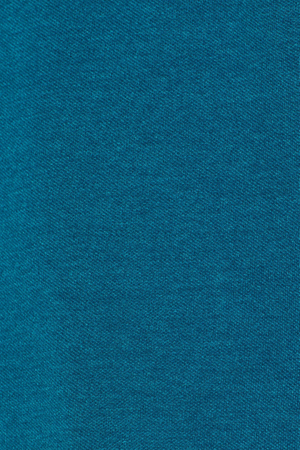 Piqué polo shirt in blended cotton, TEAL BLUE, detail image number 4