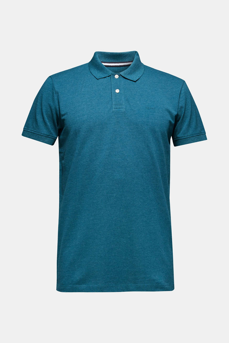 Piqué polo shirt in blended cotton, TEAL BLUE, detail image number 6