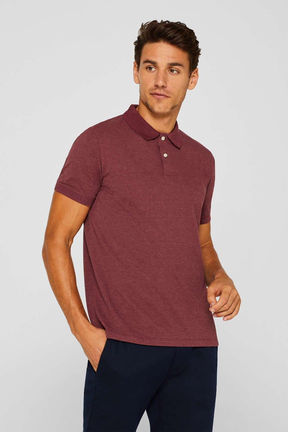 Esprit - Piqué polo shirt in blended cotton