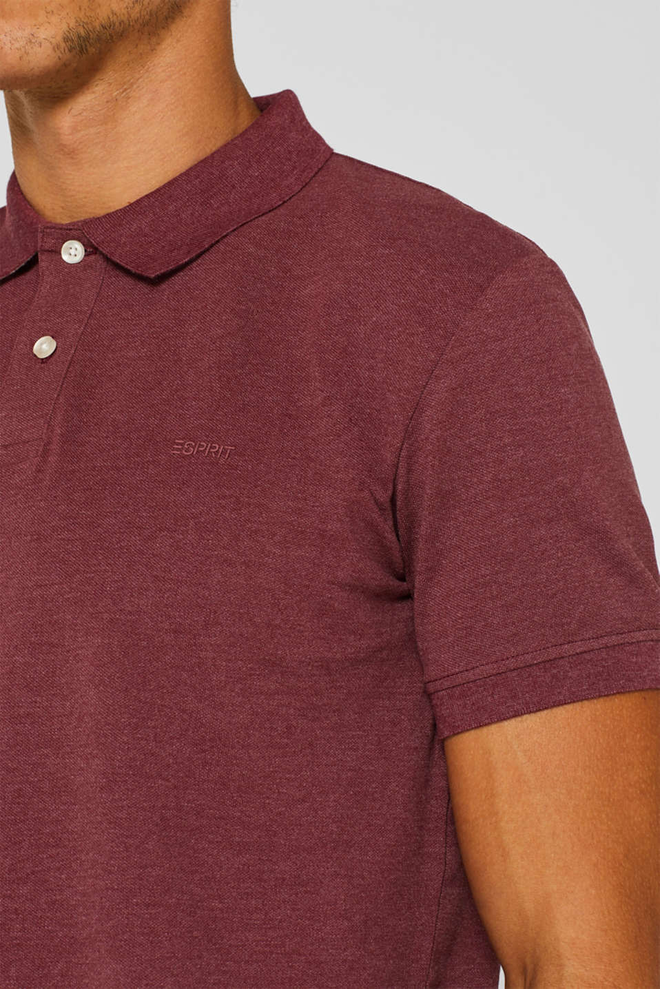 Piqué polo shirt in blended cotton, BORDEAUX RED, detail image number 1
